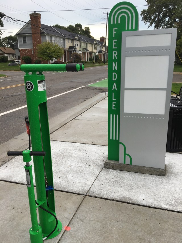 One of three bike repair stations in Ferndale is on Woodward Heights at Wolcott.