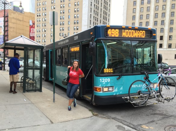 The 498 bus for Woodward is operated by DDOT. Fares are $1.50.