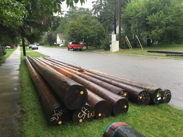 New utility poles awaiting installation.