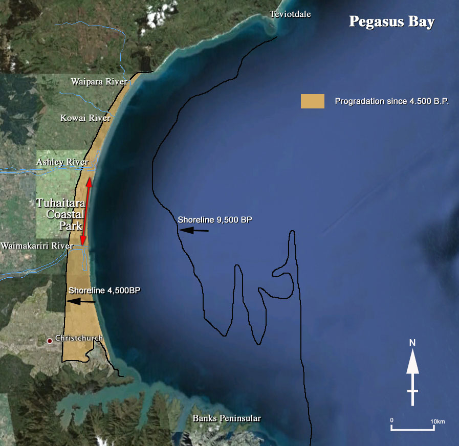 Fig. 1: The changing coastline of Pegasus Bay: 9,500 years ago ('before present' or 'BP'), the shoreline was much further out to sea. Between 9,500-4,500 years ago the coast was drowned as eustatic (global) sea levels rose due to melting ice caps at the end of the last glacial. By 4,500 year ago, the climate—and with it global sea levels—stabilised. Sediment, mostly from the Waimakariri River, built the coastline outwards (mustard coloured area of 'progradation'). (Image: Whitelaw; click for a larger image).