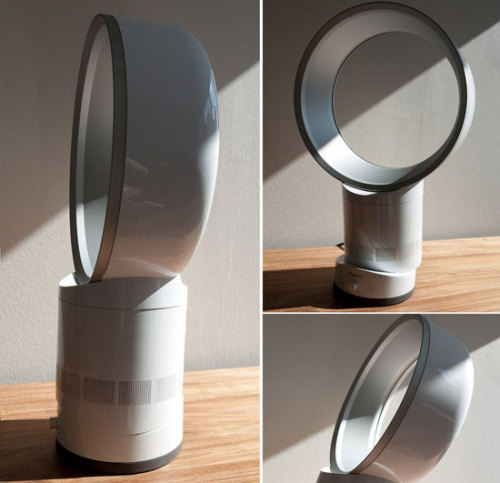 Life-Altering Device of the Day: The Dyson Air Multiplier — the world's first bladeless fan. Air is sucked in through the base, accelerated out into the loop amplifier, then over an airfoil-shaped ramp curved in the direction of the end user. In addition, surrounding air is also collected into the airflow, resulting in an amplified stream of air. Learn more. Buy here. [via.]