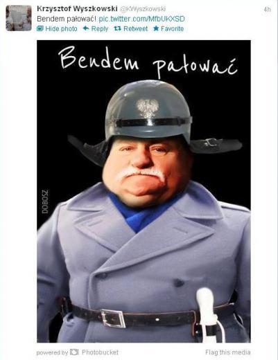 Fotomontaż, który pojawił się na profilu Krzysztofa Wyszkowskiego na Twitterze
