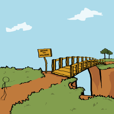Image result for cartoon bridge to nowhere