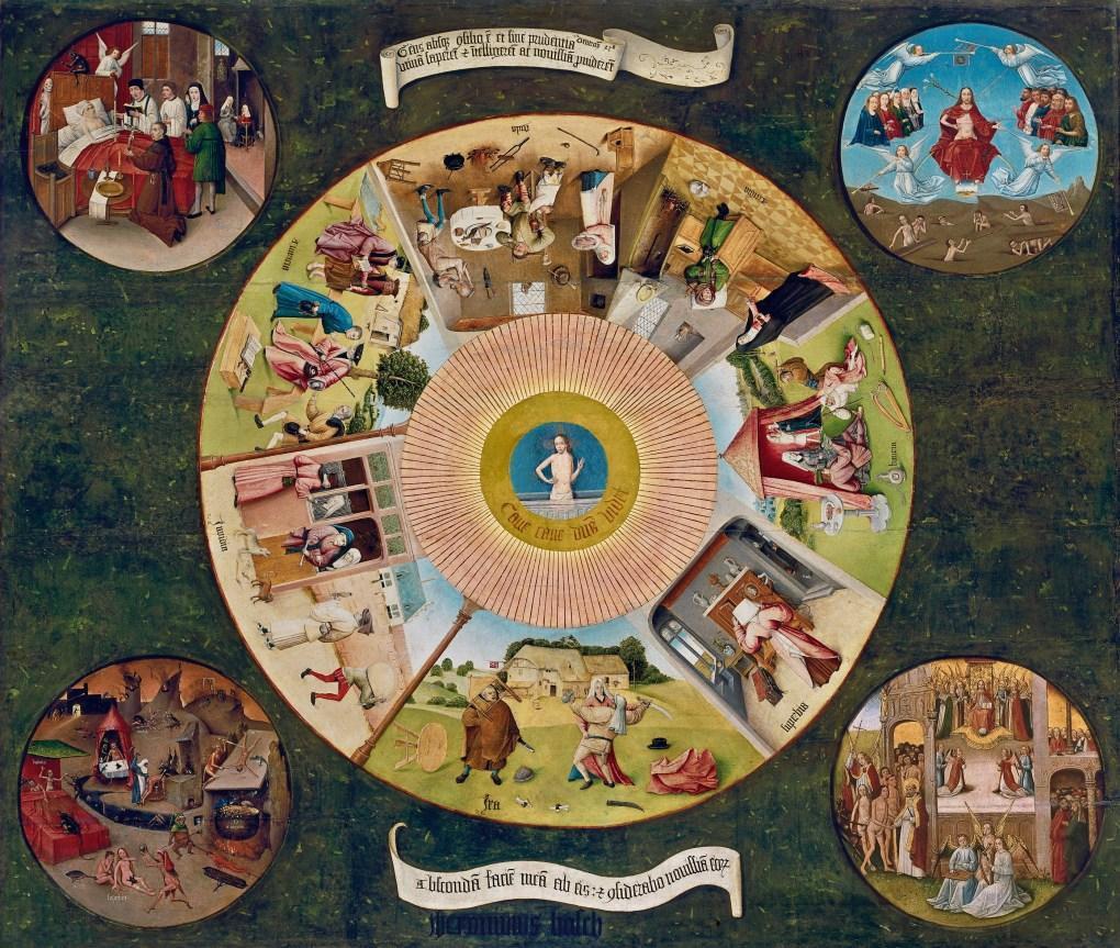 Mesa de los Pecados Capitales. El Bosco. Óleo sobre tabla, 120 x 150 cm 1505-10 Madrid, Museo Nacional del Prado. Depósito de Patrimonio Nacional