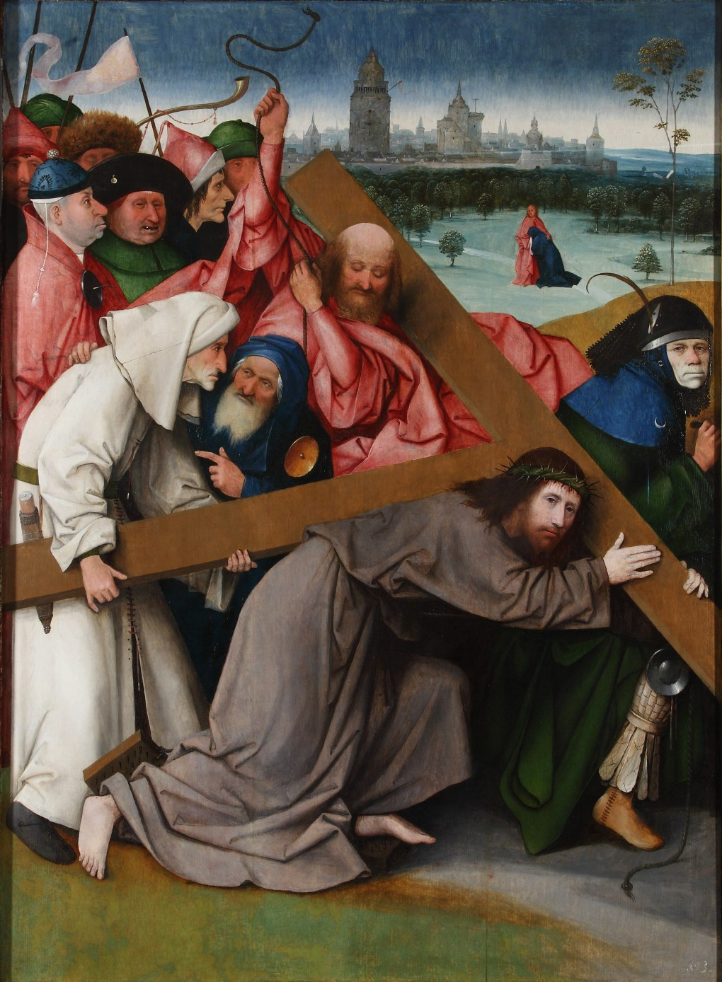 Cristo camino del Calvario El Bosco Óleo sobre tabla, 142.3 x 104.5 cm h. 1500 Colecciones Reales. Patrimonio Nacional. Real Monasterio de San Lorenzo del Escorial