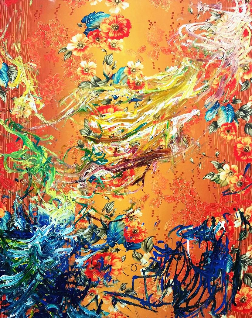 Sebastián Vallejo. Chimaera's, 2016, oleo y textil sobre lienzo, 50x60