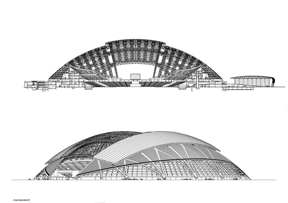 La estructura de la cúpula provee sombra y enfriamiento según requerido y permanece abierto cuando el estadio no está en uso para mantener la grama en óptimo estado. Foto: Arup Associates