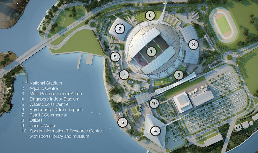 El estadio de 55,000 asientos forma parte de las 35 hectáreas que conforman el Centro Deportivo en Kallang al sureste de Singapur. Foto: Oaker