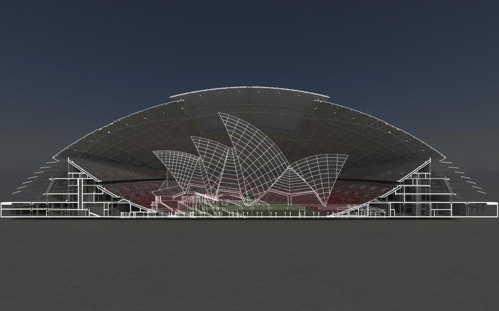 La cúpula voladiza con mayor alcance en el mundo - El Sydney Opera House cabe cómodamente dentro del Estadio Nacional de Singapur. Foto: Arup Associates