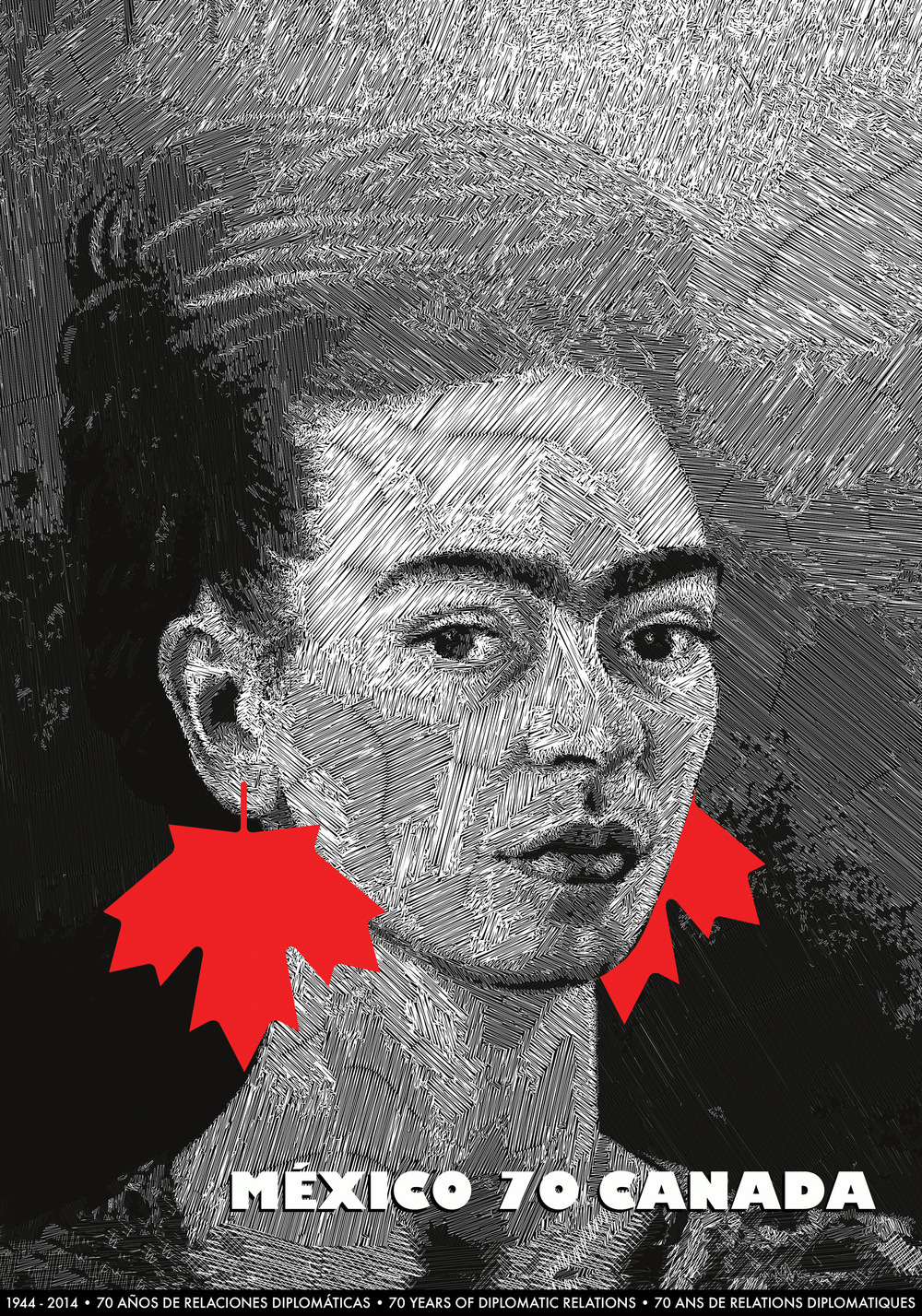 MÉXICO-CANADA, 70 años de relaciones diplomáticas, 2014, por Nelu Wolfensohn. Afiche seleccionado para la Bienal Internacional del Afiche en La Paz, Bolivia, 2015, y la Golden Bee Bienal Internacional del Afiche en Moscú, Rusia, 2016. Foto: Nelu Wolfensohn