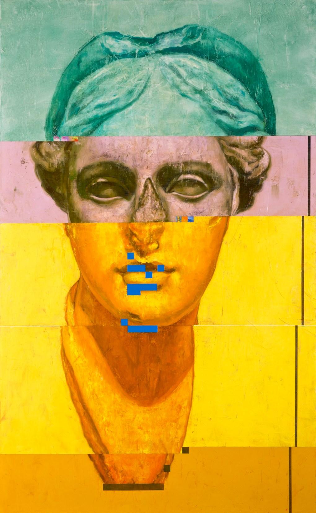 «Bildpunkt». Óleo sobre canvas del artista Roberto Silva Ortiz. Cortesía de Espacio Minerva.