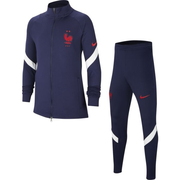 Nike Frankrijk Strike Trainingspak 2020-2022 Kids Donkerblauw