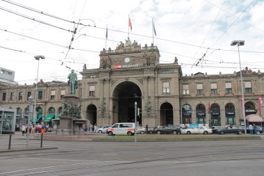 Zurich Hauptbahnhof. This is one of the busiest train stations with most of its 26 platforms paralelly spread out.