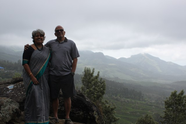A photograph at the viewpoint just before the Tata tea factory. The Club Mahindra resort is in the background, but the overcast skies don't let that be seen