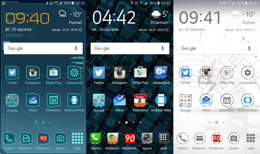 Samsung Galaxy A5 2016 - różne warianty ekranu głównego zależne od wybranego motywu - 90sekund.pl