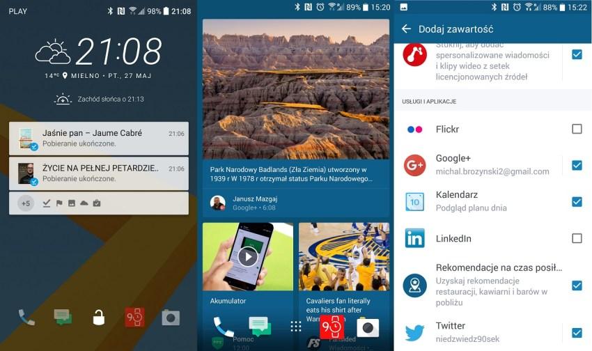 Od lewej - zablokowany ekran HTC 10, Blink Feed widoczny po lewej stronie od pulpitu głównego oraz społecznościowe ustawienia News Republic - recenzja 90sekund.pl