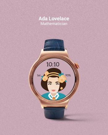 Tarcza zegarka z Adą Lovelace - fot. Fat Russell