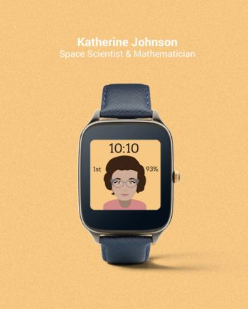 Tarcza zegarka z Katherine Johnson - fot. Fat Russell