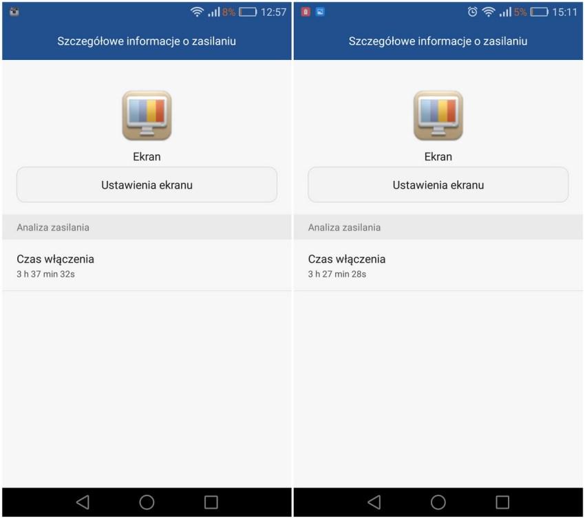 Huawei P9 - Przykładowe zużycie baterii - recenzja 90sekund.pl
