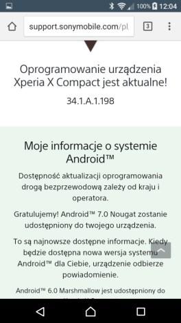 Obietnica zaktualizowania Sony Xperia X Compact F5321 do Androida 7.0 Nougat - recenzja 90sekund.pl