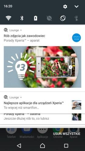 Sony Xperia XZ Premium - Xperia Lounge w menu powiadomień - recenzja 90sekund.pl