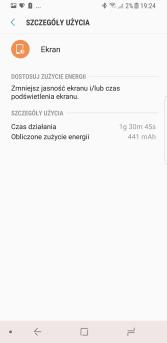 Przykładowy czas pracy ekranu na jednym ładowaniu baterii w Samsungu Galaxy S8 - recenzja 90sekund.pl