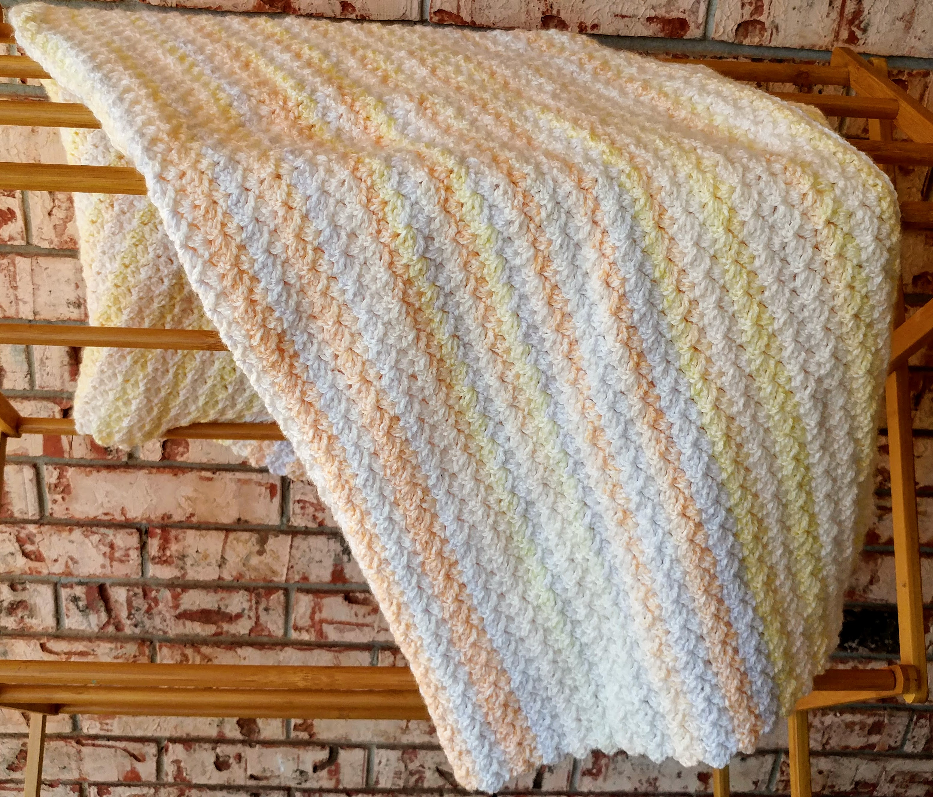 Orange And Yellow Striped Crochet Gift For Girl Afghan Infant