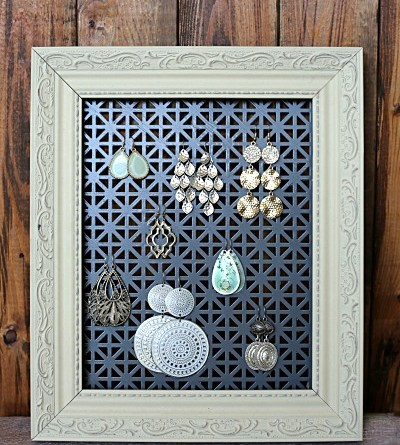 This DIY Earring Holder is an easy and inexpensive way to display your earrings. Love that I can customize the colors/style to my decor!