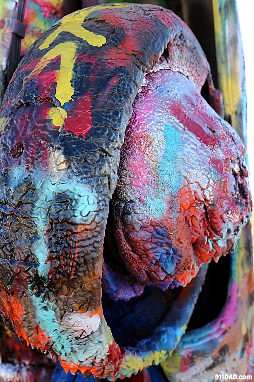paint dripping off the cars at cadillac ranch