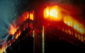 close-up of First Interstate fire