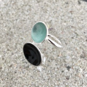 Dots Twinring Black & Turquoise