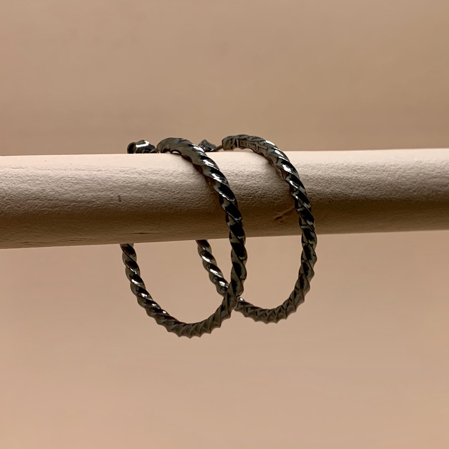 Native Hoops Rhodium Black