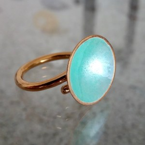 Dots 14K Gold Plated Turquoise Ring