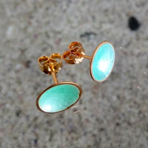 Dots Studs Turquoise Enamel & 14K Gold Plated