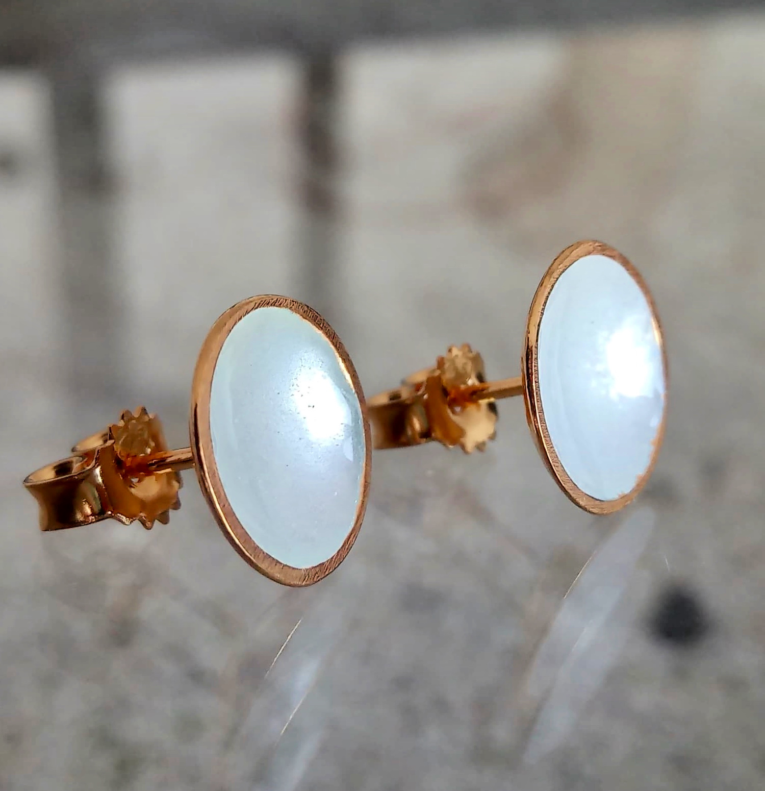 Dots Studs White Enamel & 14K Gold Plated
