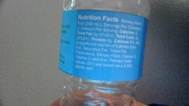 Nutrition Facts: Serving Size 8 fl oz (240 mL), Servings Per Container 2, Amount Per Serving: Calories: 0, Total Fat 0g (0%DV), Total Carb. 0g (0%DV), Protein 0g, Calcium 0%. Not a significant source of Calories from Fat, Saturated Fat, Trans Fat, Cholesterol, Dietary Fiber, Vitamin A, Vitamin C and Iron. Percent Daily Values (DV) are based on a 2,000 calorie diet.