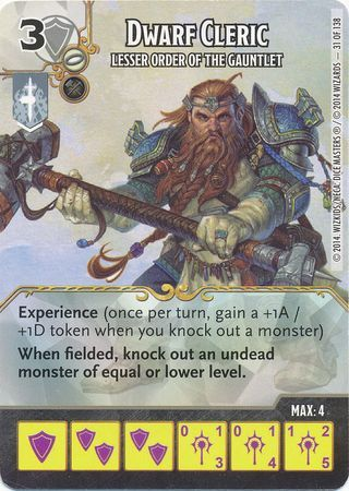 Dwarf Cleric Lesser Order Of The Gauntlet Common Dice Masters DampD Battle For Faerun