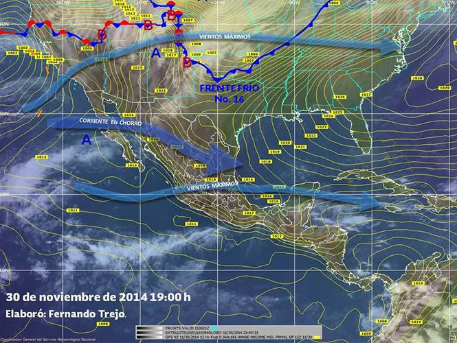 Imagen de fenómenos #meteorológicos significativos de las 19:00 horas, reportó la Conagua
