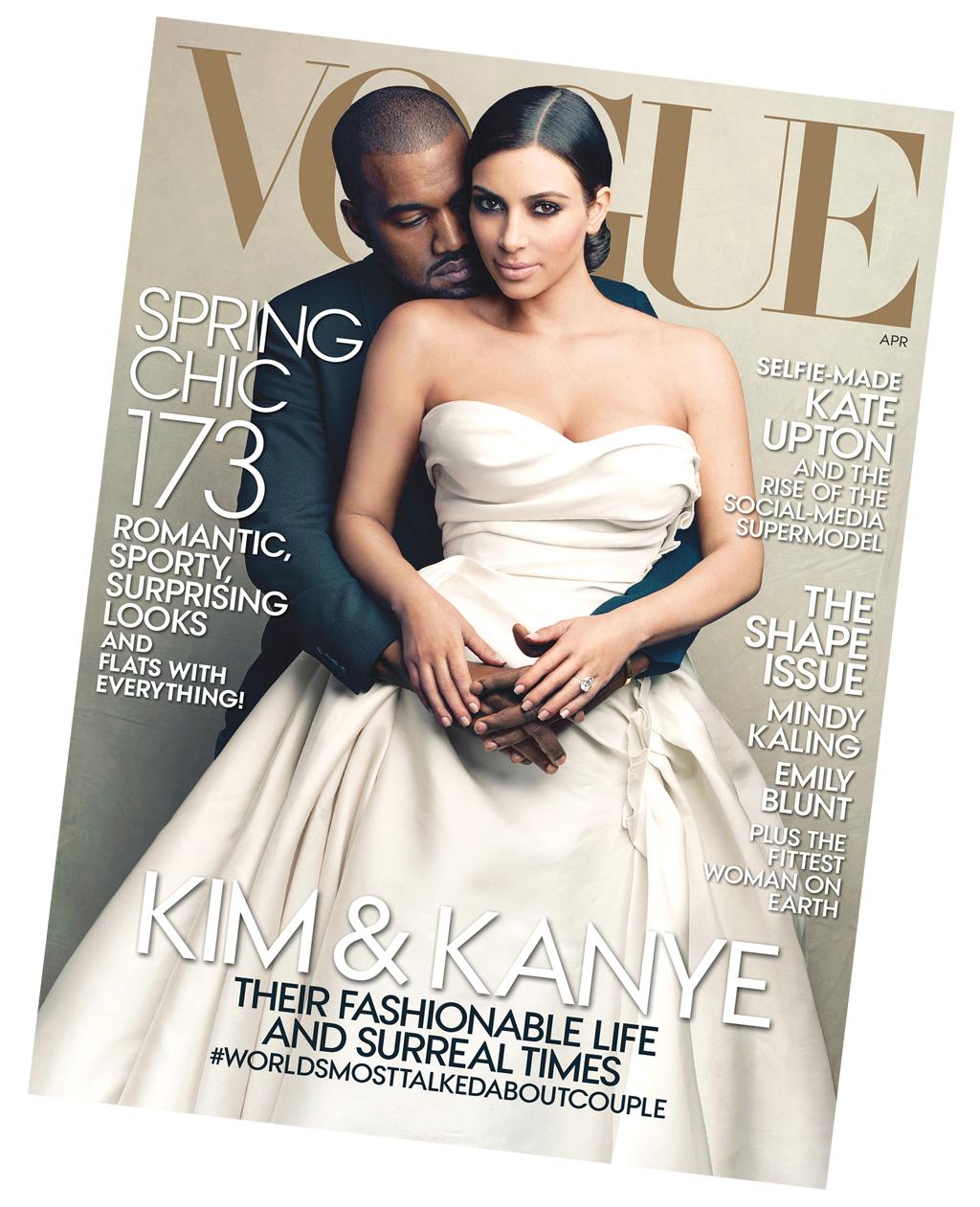 La portada de la controversia para la revista Vogue, al lado de su marido, Kanye West. Foto: AP