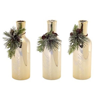 decorative-metallic-bottles-with-pinecone-trim-melrose-gifts