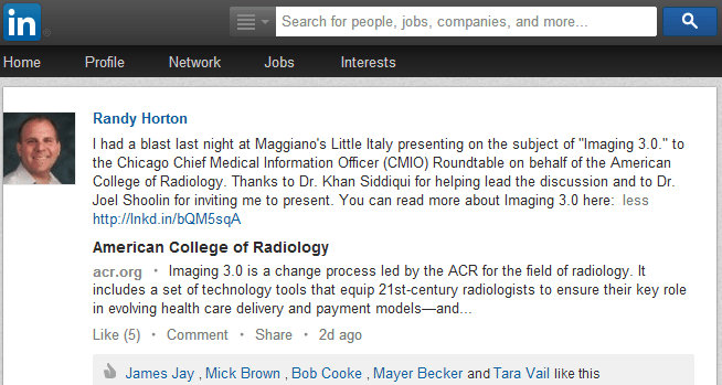 LinkedIn post on Chicago CMIO speaking event on Imaging 3.0 - Edited