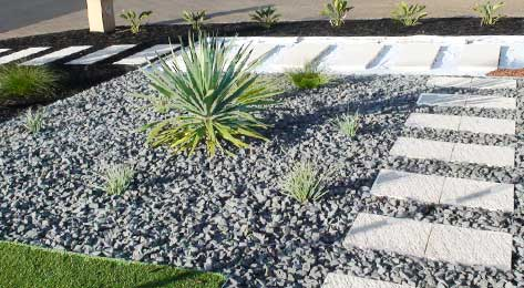 Landscaping with gravel and plants