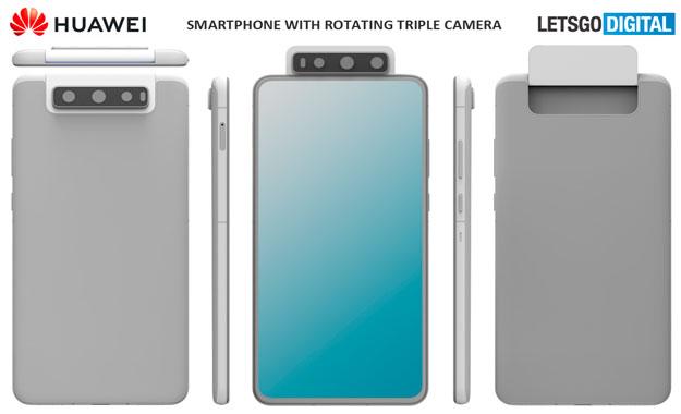 Huawei patenta un smartphone que contaría con cámara triple giratoria