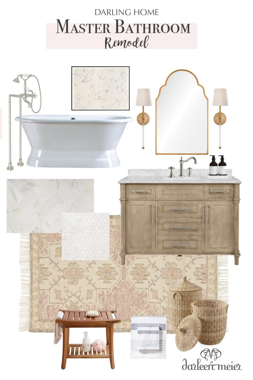 Renovation Ideas for Our Master Bathroom Remodel.  Details in the Master bathroom inspiration board with before pictures.    Darling Darleen Top CT Lifestyle Blogger #darlingdarleen