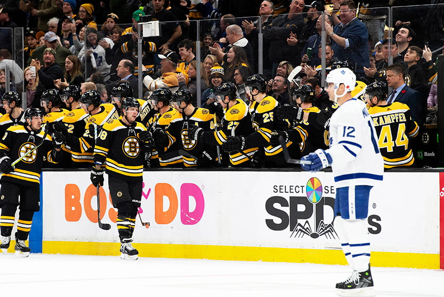 Nov 10, 2018; Boston, MA: Boston Bruins forward David Pastrnak celebrates with teammates after scoring his second goal of the game against the Toronto Maple Leafs in the second period at TD Garden. (Kathryn Riley-USA TODAY Sports)