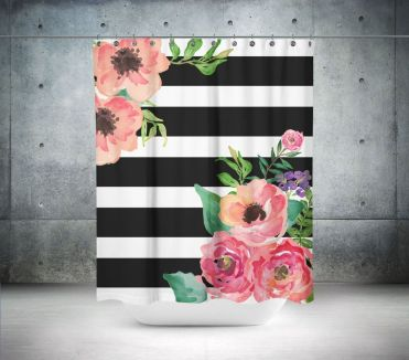 Beautiful Black And White Shower Curtains Design Ideas 30
