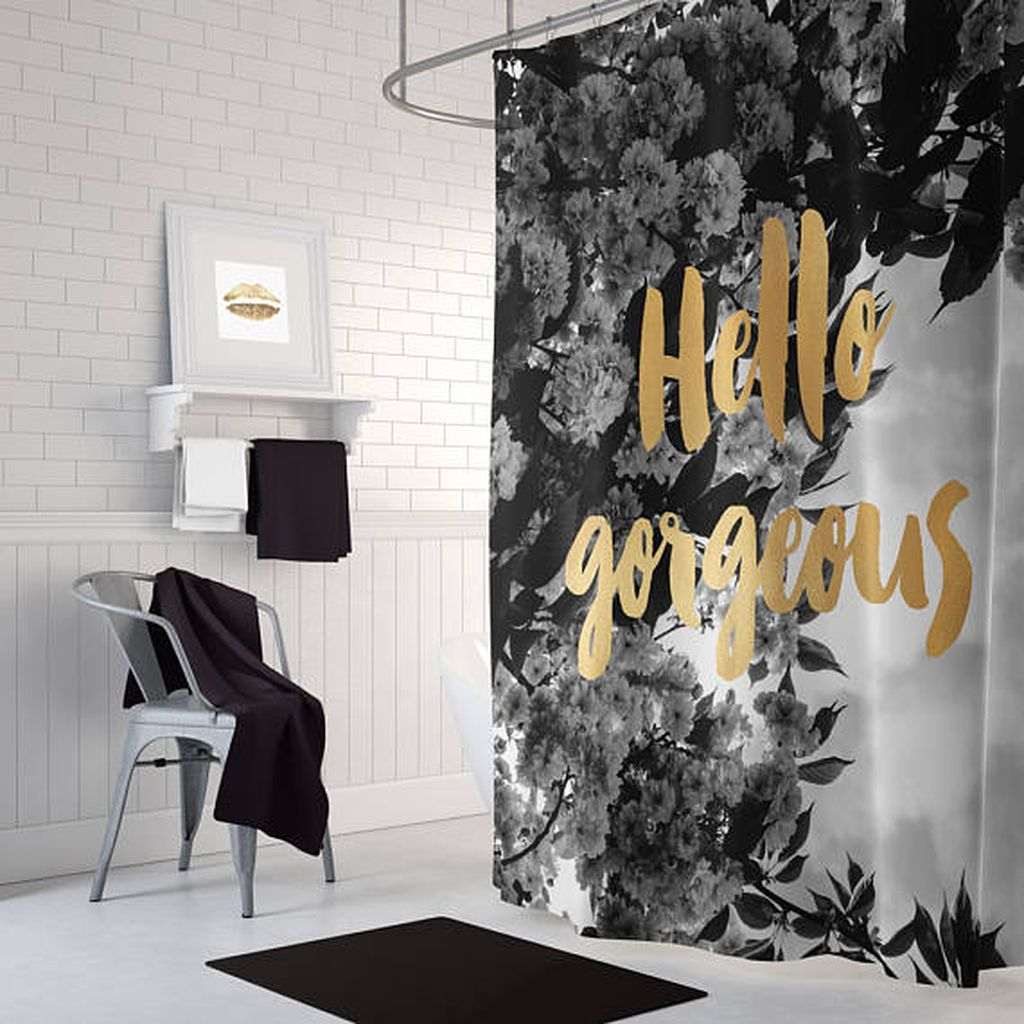 Beautiful Black And White Shower Curtains Design Ideas 38