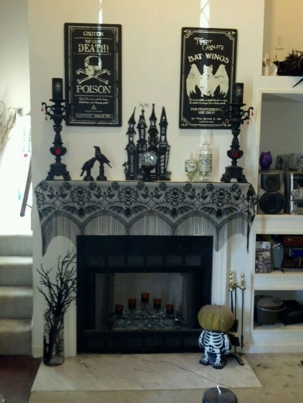 Scary But Classy Halloween Fireplace Decoration Ideas 01