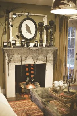 Scary But Classy Halloween Fireplace Decoration Ideas 09