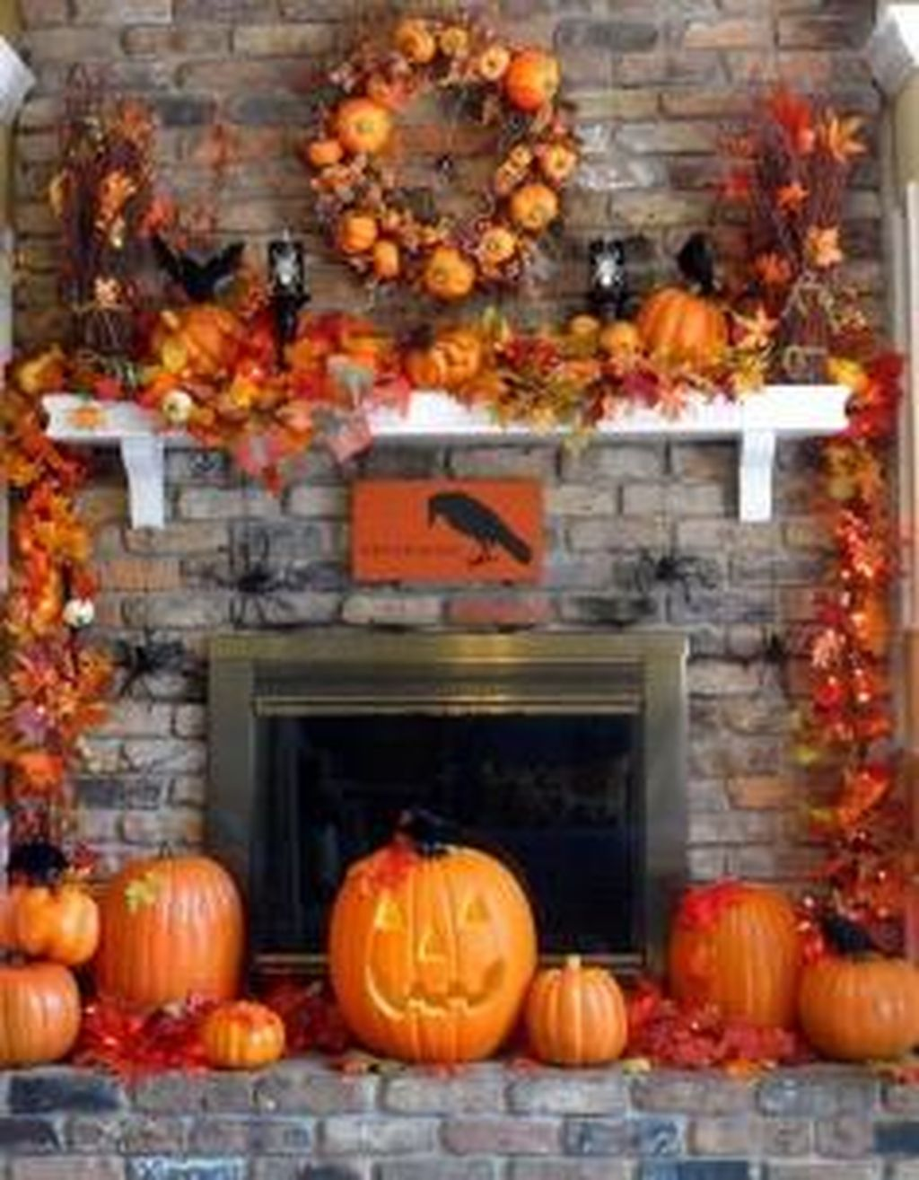 Scary But Classy Halloween Fireplace Decoration Ideas 13